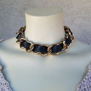 Jewelry - Gold-Tone Chain & Vegan Leather Laced Choker